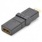 7-180 19pin HDMI macho para HDMI fêmea 90/180 Grau Rotatable Adapter Converter - Black + Ouro