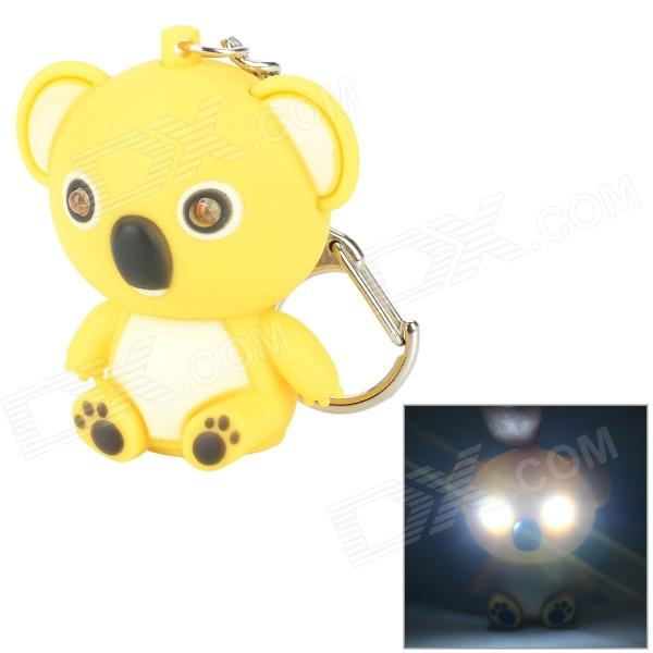 Cute Bear LED Keychain w/ White Light / Sound - Yellow + Black (3 x AG10) slr telephoto lens led white light keychain w sound effect yellow black orange 3 x ag13