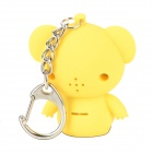 Cute Bear LED Keychain w/ White Light / Sound - Yellow + Black (3 x AG10)