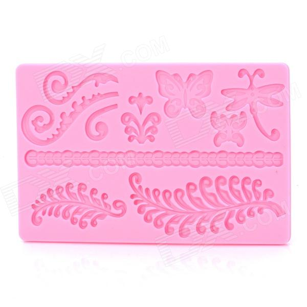 SP001 Butterfly Shaped Silicone Cake Maker DIY Mould - Pink silicone skeleton shaped ice cubes trays maker diy mould random color