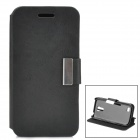 Lychee Pattern Protective PU Leahter + PC Flip-open Case for Samsung Mini i9190 - Black