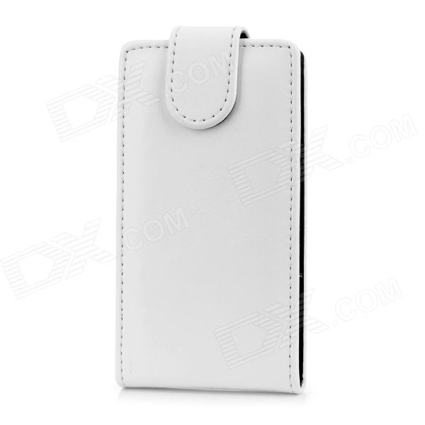 Protective Flip-Open PU Leather Case for Nokia Lumia 520 - White + Black nillkin protective pu leather pc flip open case for nokia lumia 535 white