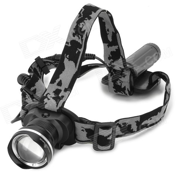 LZZ-186 600lm 3-Mode Cool White Light Zooming Headlamp w/ 1-CREE XM-L U2 - Black (1 x 18650) lzz 300lm 3 mode white crown head headlamp w cree xm l t6 black silver 1 x 18650
