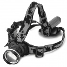 LZZ-186 600lm 1-CREE XM-L U2 3-Mode Cool White Light Zooming Headlamp - Black (1 x 18650)