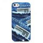Unique Denim Pattern Silicone Back Case for iPhone 5 - Blue