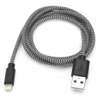 USB to 8-Pin Lightning Data/Charging Woven Cable for iPhone 5 / iPad 4 / Mini - Gray Black (105CM)