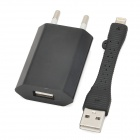 AC Charger + Short USB Cable for iPhone 5 - Black (EU Plug)