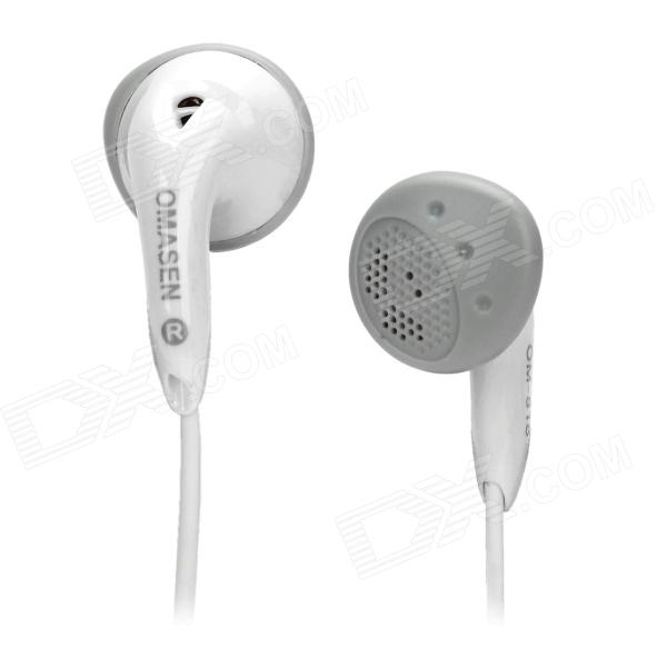 OMASEN OM78 Stylish Stereo Earphone w/ Microphone for Iphone / Ipod / HTC / Samsung - White (3.5MM) omasen om78 stylish stereo earphone w microphone for iphone ipod htc samsung white 3 5mm
