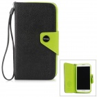 Hotsion S4-MOZ 01 Protective PU Leather Flip-Open Case for Samsung i9500 - Black + Green