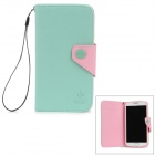 Hotsion S4-MOZ 02 Protective PU Leather Flip-Open Case for Samsung i9500 - Green + Pink