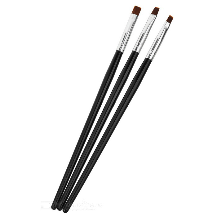 Nail Art Manicure Painting Drawing Tool Pen - Black + Silver (3 PCS)
