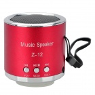 Z-12 Portable Mini Rechargeable Media Speaker Player w/ TF / FM - Red + Silver