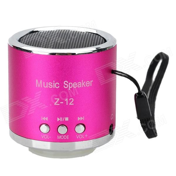 Z-12 Portable Mini Rechargeable Media Speaker Player w/ TF / FM - Deep Pink + Silver