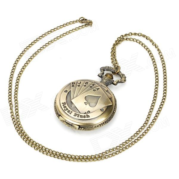 Playing Card Pattern Analog Quartz Bracelet Watch - Bronze (1 x 377) old antique bronze doctor who theme quartz pendant pocket watch with chain necklace free shipping