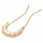 F010 Elegant Gold-Plated + Artificial Pearl Hair Pin Fork - Golden + Beige