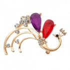 Peacock Design Elegante vergoldete + Crystal Dekorative Brosche - Red + Purple + Golden