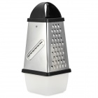 J2CM Stainless Steel 4-Side Grater + Preservation Box - Black + Silver