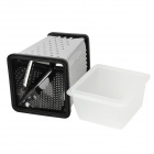 Stainless Steel 4-Side Grater + Preservation Box - Black + Silver