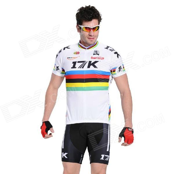 RUSUOO K01007 Bicycle Cycling Jersey + Bib Shorts Set -  White + Black (Size-L/170-175cm) rusuoo k01007 bicycle cycling jersey bib shorts set white black size xxl 180 185cm