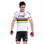 RUSUOO K01007 Bicycle Cycling Jersey + Bib Shorts Set -  White + Black (Size-L/170-175cm)