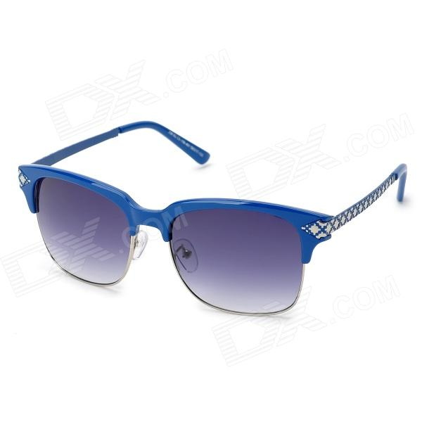 LANGTEMENG J58162 C5-1898-461 Women's UV400 Protection Plastic Frame Resin Lens Sunglasses - Blue langtemeng c56334 fashion women s uv400 protection plastic frame resin lens sunglasses white red