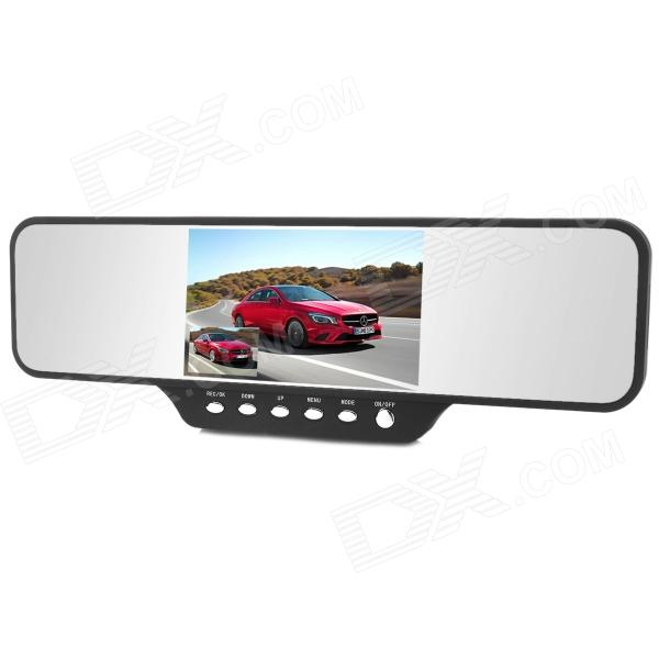 4.3 TFT 360 Degree Panorama Dual Lens Car Rearview Mirror DVR Camcorder - Black dual lens car rearview mirror dvr video recorder camcorder night vision 4 3 inch allwinner a10 2x140 degree wide angle
