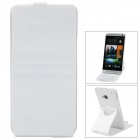 360 Degrees Rotation Protective PP + PC Top Flip-Open Case for HTC M7 - White
