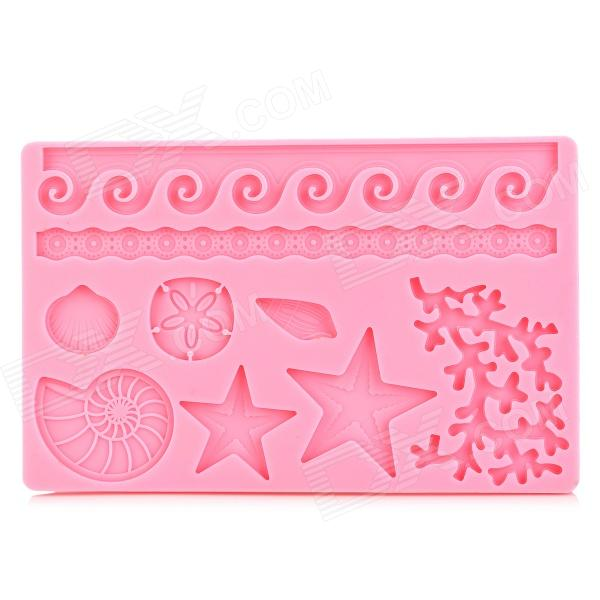 Marine Animals Shaped DIY Cookie Pastry Cake Mold - Pink sp008 diy silicone button flower style cookie cake mold pink