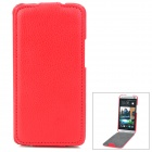 Lichee Pattern Protective PU Leather Top Flip-Open Case for HTC M7 - Red