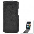 Lichee Pattern Protective PU Leather Top Flip-Open Case for HTC M7 - Black