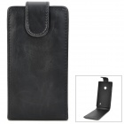 Protective PU Leather Top Flip-Open Case for Nokia 520 - Black