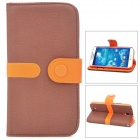 Fashion Protective PU Leder + PC Flip-Open Case für Samsung Galaxy S4 / i9500 - Brown + Orange