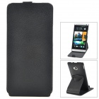 360 Degrees Rotation Protective PP + PC Top Flip-Open Case for HTC M7 - Black