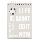 Stylish Notebook / Notepad w/ Analog Clock - Light Grey + White (80-Page)