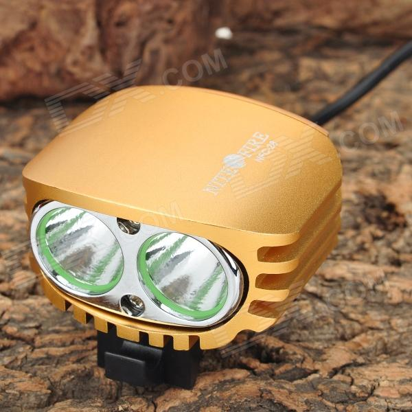 NITEFIRE NFC-28 1200lm 4-Mode Cool White Bicycle Light w/ 2-Cree XM-L U2 - Golden Yellow (4 x 18650)