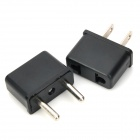 2-Flat-Pin Plug Power Adapter + EU Plug Power Adapter Set - Black (125~250V)