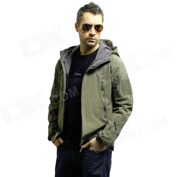 Men's Waterproof Windproof Polyester + Spandex Outdoor Jacket - Army Green (Size-L)