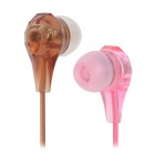 W-TV1 Sweet Candy Color 3.5mm In-ear Earphone Headset - Pink + Brown (110cm)