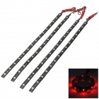 1.5W 70lm 15-SMD 1210 LED IP65 Waterproof Red Light Strips - Black (4 PCS)
