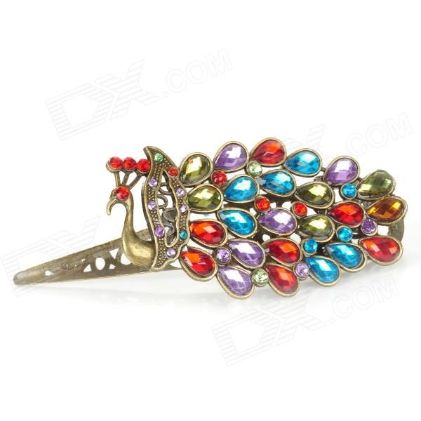 Peacock Spreads Its Tail Multicolor Jewel Hair Pin