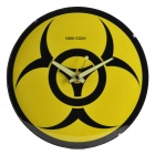 Resident Evil Style Fluorescence Glow-in-the-Dark Frameless Glass Wall Clock - Yellow + Black