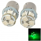 115650-8G 1.3W 120lm 8-SMD 5050 LED Green Light Car Signal Light - White + Silver (2 PCS)