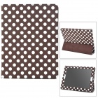Protective Polka Dot Pattern PU Leather Case for Ipad 2 - Brown + White