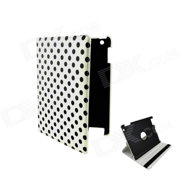 360 Degree Rotation Protective PU Leather Smart Case for Ipad MINI - Black + White crocodile grain style protective 360 degree rotation pu leather case for ipad 2 3 4 yellow