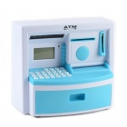 "Multi-functional 1.9"" LCD Mini ATM Piggy Coin Bank w/ Time / Alarm Clock - White + Blue (3 x AA)"