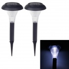 MD9553 Solar Powered 1-LED 5lm White Garden Light - Black (2 PCS)