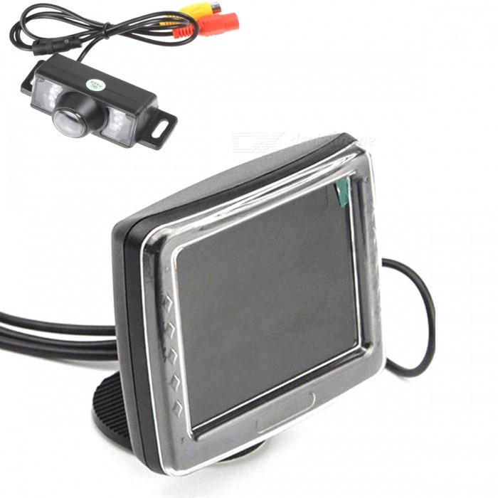 3.5 Car Rearview LCD Monitor + E350 Rearview Camera System - BlackRearview Mirrors and Cameras<br>BrandN/A Quantity1 piece(s)MaterialPlastic  ColorBlack TypeRearview Backup system Compatible MakeUniversal Compatible ModelCar, minicar InstallationStick on the car instrument desk Display Size3.5 (aspect ratio: 4:3) Screen Resolution480RGB x 234 PixelsSignal SystemNTSC / PAL Other Features of MirrorPower supply: DC 12V; Rated power: 3W; Supports card DVD / VCD, vidicon and other video devices; With 2-channel video input connector; White video cable connect to car rear camera, yellow video cable connect to DVD / VCD, the screen will automatically switch to backup frames as back up; Without menu button / audio input or output; Working temperature: -10C~50C; Storage temperature: -20C~60C  Camera Typewired Image SensorCMOS Video SystemNTSC Effective Pixel656 x 492 Resolution420 TV LinesViewing Angle135 DegreeWater-proofIP67 Minimum Illumination0.1~0.5 Lux / F=1.2Lux LuxPower SupplyDC 12V LED Qty.7 IR Night VisionYes Night Vision Distance5 mOther FeaturesCamera sensing area: 4.08 x 3.102mm; With distance marked line; Video output: 1.0Vp-p, 7 ohm, RCA connector; Working temperature: -20C~75C; Relative humidity: 95% max.; Storage temperature: -40C~85C; Relative humidity: 95% max. Packing List1 x Camera (55cm-cable)1 x 3.5 monitor (40cm-cable)2 x Power cables (90cm / 140cm)1 x AV signal connection cable (590cm)2 x Installation screws1 x English user manual<br>