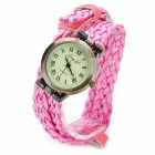 Jing Yi JY-106 Fashion Women's Braided PU Band Quartz Watch - Pink + Antique Brass (1 x LR626)