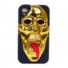 3D Skeleton Protective Plastic Back Case for Iphone 4 / 4S - Gold + Black + Red