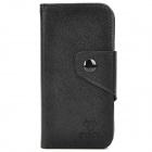 NEWTOP Protective PU Leather + Plastic Case w/ Card Holder for Iphone 5 - Black